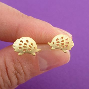 Prickly Hedgehog Porcupine Shaped Stud Earrings in Gold