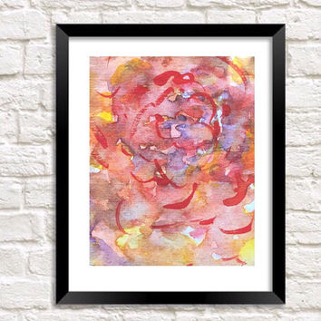 Original Abstract art, Abstract watercolor print, watercolor flowers, neutral Modern art, Floral contemporary painting, wall art