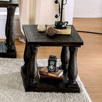 Furniture of america CM4455E Granard weathered walnut finish wood end table