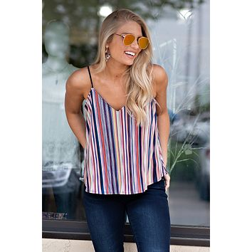 Brighter Days Pleated Stripe Top : Red