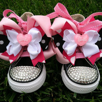 BARBIE GIRL SHOES Barbie Party Barbie Birthday Barbie Bows Barbie Costume - Swarovski Crystals - Pink Converse - Infant/Toddler/Youth