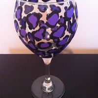 Leopard wine glass, purple