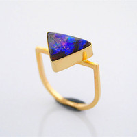 Australian Boulder Opal 14K Gold Ring Blue Geometric Triangle