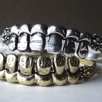 1- Tooth Bangle Bracelet Vintage Silver Human Teeth Cuff Anatomy Jaw Bangle Finished Jewelry Bracelet