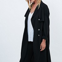 Light Before Dark Crepe Trench Coat in Black - Urban Outfitters