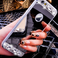 6S 7 Plus Luxury Diamond Glitter Mirror Case For Apple iPhone7 Plus 6 6s Plus 5 5S SE Dual Layer Bling TPU Slim Clear Back Cover -0315