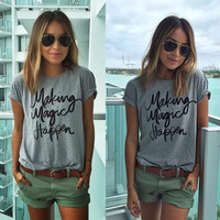 Fashion Women Ladies Summer Short Sleeve T-Shirt = 5988171521