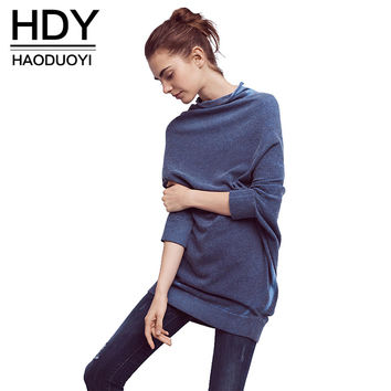 Solid Color Tops Women Three Quarter Sleeve O-neck Female Pullovers Tops Elegant Vintage Loose Sweatshirt