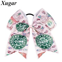 7'' Fashion Handmade Grosgrain Ribbon Cute Printed Cheer Bow For Cheerleading Sweet Baby Children Girls