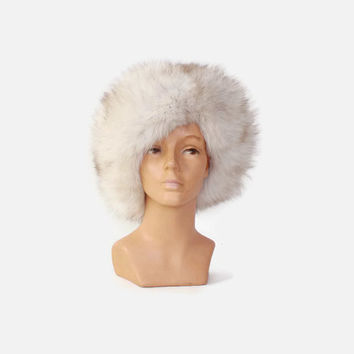 Vintage 60s FUR HAT / 1960s Fluffy Genuine Arctic White Fox Fur Winter Hat