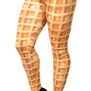 BadAssLeggings Women's Waffle Cone Leggings Medium Yellow