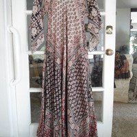 60's 70's Maxi Ethnic Caftan Dress from India Vintage Burgandy Black and Tan Angel Sleeves