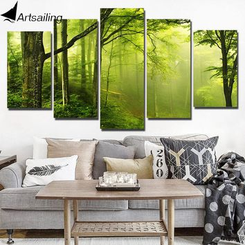 ArtSailing HD Printed Wall Art Canvas Painting Abstract Green Natural Fresh Forest Poster and Prints Modular Pictures NY-7670C