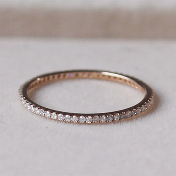 Natural Diamond Ring 1.1mm Diamond Band Full Eternity Wedding Band 14K Rose Gold Ring Engagement Ring Wedding Ring Matching Band