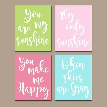 You Are My Sunshine Wall Art, CANVAS or Prints Baby Girl Nursery Song Rhyme Quote Decor, Girl Set of 4 Crib Decor, Gift for Girl Wall Decor