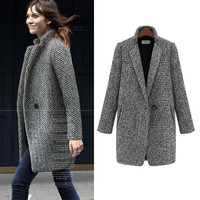 Winter Autumn Female Woolen Overcoat Women Thick Wool Coat Jacket Long Cotton Coats New Ladies Velvet Jacket Casacos Femininos