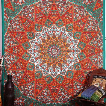 Large Indian Psychedelic Star Mandala Tapestry Wall Hanging, Hippie Wall Tapestries, Bohemian Boho Bedspread Décor Tapestry Beach Throw
