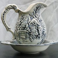 Vintage Ceramic Blue Pitcher and Saucer with Beautiful Embossed Scenes Made In Japan