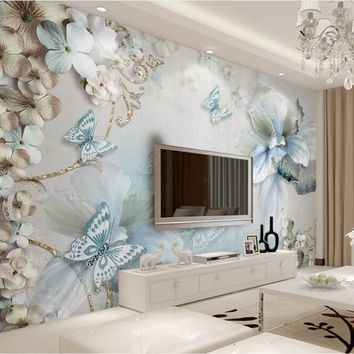Custom Mural Wallpaper For Bedroom Walls 3D Beautiful Flower Butterfly Background Wall Papers Home Decor Living Room Wall Paper