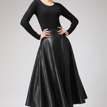 Black PU skirt maxi skirt long winter skirt (719)