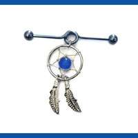 Dream Catcher with Blue Bead on Industrial Blue Barbell Titanium Anodized 14G 1 3/8""