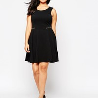 New Look Inspire Skater Dress With Zip Detail at asos.com