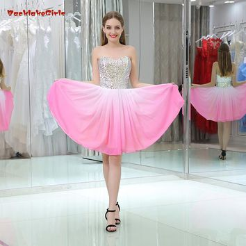 2018 New Pattern Sleeveless Candy Color Satin Strapless Short Dresses Ball Gown Crystal Prom Dresses Evening Dresses