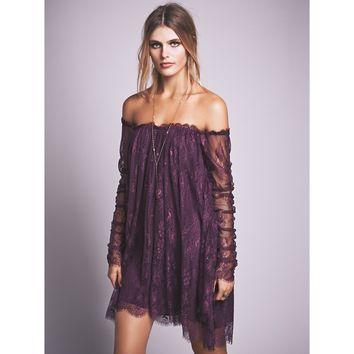 Off Shoulder Overlay Dress
