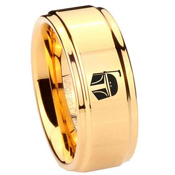 8MM Glossy Gold Step Edges Star Wars Boba Fett Sci Fi Science Tungsten Laser Engraved Ring