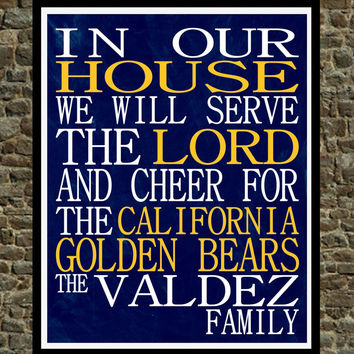 Customized Name California - Cal Golden Bears - personalized family print poster Christian gift sports wall art - multiple sizes