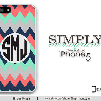 iphone 5 case - plastic or silicone rubber - chiq mint and navy grunge chevron monogram
