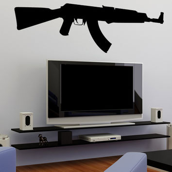 Vinyl Wall Decal Sticker AK47 Gun #OS_MB482