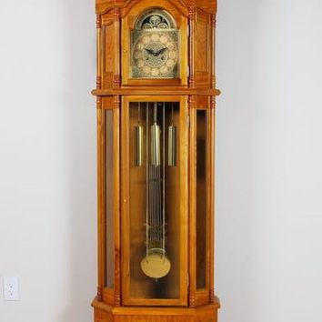 Acme 01410 Light oak finish wood grandfather clock with side curio cabinets
