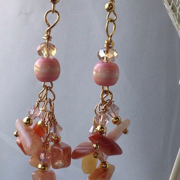 Handmade Peach Aventurine Hawaiian gemstone chip earrings - Crystal beaded Dangle - Aventurine Peach Marsala Ombre Color Natural Gemstones