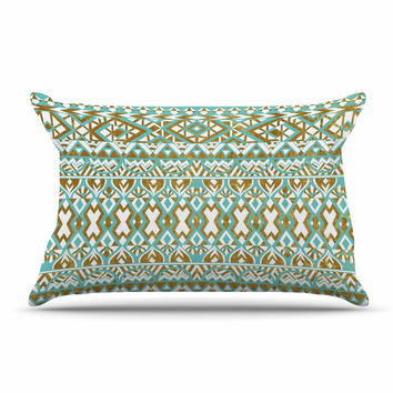 "Pom Graphic Design ""Mint & Gold Tribals"" Teal Brown Pillow Case"