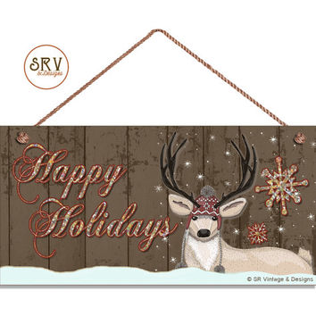 "Happy Holidays Sign, Rustic Glitter Decor, Deer in Snow, Weatherproof, 5"" x 10"" Sign, Gift, Country Decor, Christmas Sign, Made To Order"