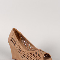 Nubuck Perforated Peep Toe Wedge