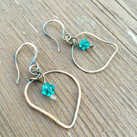 Blue Earrings, aqua blue, swarovski crystal, antique dark copper, wire wrapped, dangle and drop, gifts for her, summer, fashion, boho style