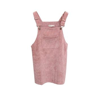 J08 Fashion Women Corduroy Suspender Retro Sundress Overall Vest Casual Dress