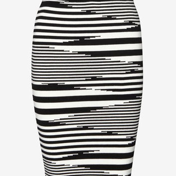 $185 Nwt Exclusive For Intermix Striped Knit Pencil Skirt Small