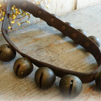 antique lovely pointed horse bells / sleigh bells / leather neck body strap / circa late 1800's-1900's / primitive rustic decor /  EPSTeam