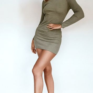 Emma Long Sleeve Mini Dress Khaki