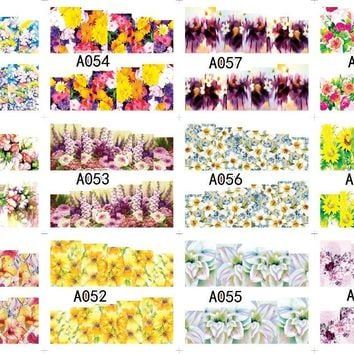 12 PACK/ LOT  WATER DECAL NAIL ART NAIL STICKER SLIDER FULL COVER SUN FLOWER GROUP DAISY A049-060