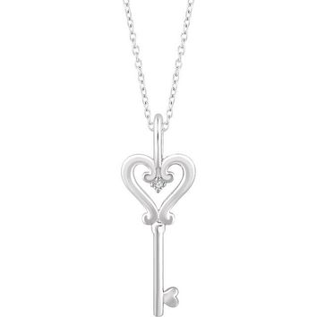 "Sterling Silver .006 CT Diamond Heart Key 16-18"" Necklace"
