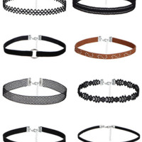8pcs PU Leather Choker Set