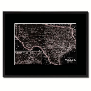 Texas Vintage Vivid Sepia Map Canvas Print, Picture Frames Home Decor Wall Art Decoration Gifts