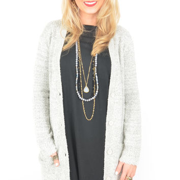 Long Heather Gray Cardigan with Side Pockets and Button-Up Front