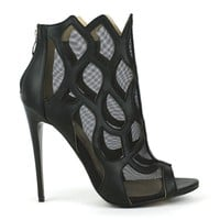 Fahrenheit Esther-11 Mesh Lined Flame Booties in Black @ ippolitan.com