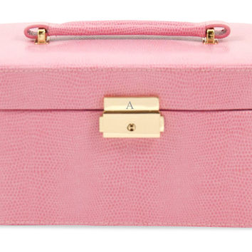 Monogram Leather Jewelry Box, Pink, Jewelry Boxes & Chests