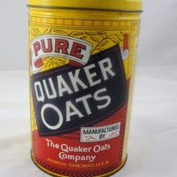 Vintage 1984 Quaker Oats can, vintage oatmeal can, vintage kitchen decor, vintage advertising